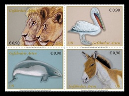United Nations (Vienna) 2020 Mih. 1078/81 Fauna. Endangered Species. Lion. Bird. Pelican. Porpoise. Horse. Kiang MNH ** - Neufs