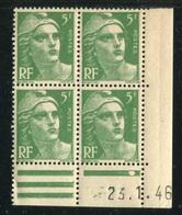 """Bloc De 4  Timbres** De 1945-47 """"5 F. - Marianne De Gandon"""" Avec Date  23 .1 . 46 (1 Point) - 1940-1949"""