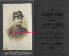 AMUSANT- CDV Ressemblance Garantie! Dit La Pub Au Dos-soldat Du 155e R-photographie Moderne Rue Des Cloys à Paris - Krieg, Militär