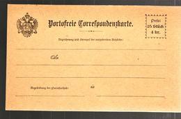 28925 - PORTOFREIE CORRESPONDENZKARTE - Ganzsachen
