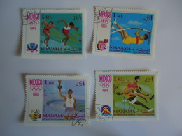 MANAMA  USED SET 4 OLYMPIC GAMES MEXICO 1968 - Verano 1968: México