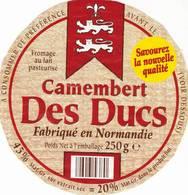 ETIQUETTE FROMAGE - CAMEMBERT -  DES DUCS -   ALDI -   Fab En NORMANDIE - Cheese