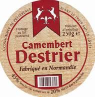 ETIQUETTE FROMAGE - CAMEMBERT -  DESTRIER -   ALDI -   Fab En NORMANDIE - Cheese