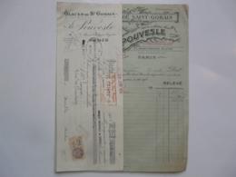 VIEUX PAPIERS - FACTURE ET TRAITE : Glaces De Saint Gobain - A. POUVESLE - Avenue Ph. Auguste - Paris - 1900 – 1949