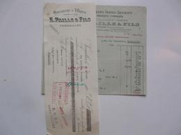 VIEUX PAPIERS - FACTURE ET TRAITE : Couleurs Et Vernis - E. PAILLE & FILS - Versailles - 1900 – 1949