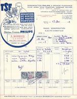 Facture établie En 1949 à Régny (Loire) TSF Réparations De Postes De Toutes Marques Station Philips Avec Timbre Fiscal - Publicités