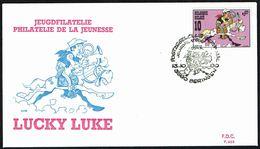 "Belgique - C.O.B. N° 2390 - Oblitération 1 Ier Jour ""BERINGEN - 13-10-1990"" - BD - Lucky LUKE - Philatélie Jeunesse. - FDC"