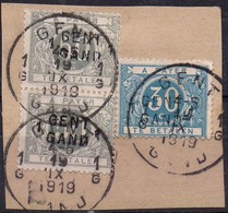 TX9A (2 Ex.) + TX15A (oblitérés - Used) Griffe GENT / GAND 1 Sur Fragment - Postage Due