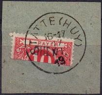 TX13A Demi-timbre Avec Griffe OHEY Et Oblitération STATTE (HUY) Sur Fragment - Postage Due