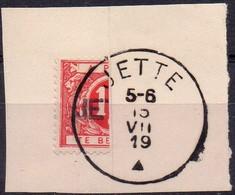 TX13A Demi-timbre Avec Griffe Et Oblitération JETTE Sur Fragment - Stamps