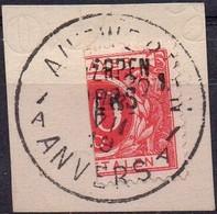 TX5A Demi-timbre Avec Griffe ANTWERPEN / ANVERS 1 Oblitéré Sur Fragment - Stamps