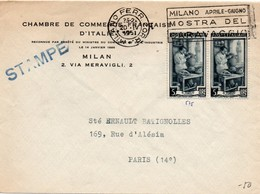 Milano Ferr. Corr. 1951 - Mostra Del Caravaccio - Chambre De Commerce Française D'Italie - 1946-.. République