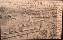 CPA, Bébés Faisant Une Course De  Canoes, De Bateaux, écrite En 1904, Fantaisie, Montage - Bébés
