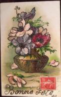 Cpa, Bone Fête, Paillettes,vase, Fleurs, Illustration, Fantaisie, écrite En 1908 - Nouvel An