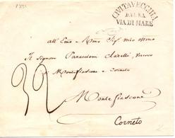 1851  RARA Busta  CIVITAVECCHIA DALLA VIA DI MARE Per CORNETO Siglata Da RYBAUDY - 1. ...-1850 Prephilately