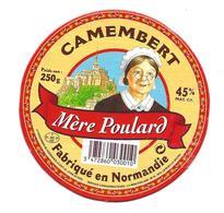 ETIQUETTE De FROMAGE Cartonnée..CAMEMBERT Fabriqué En NORMANDIE..Mère Poulard...MONT ST MICHEL - Cheese