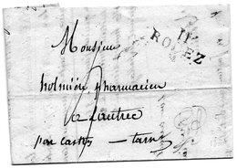 """""""11 RODEZ"""",24X11mm,L.A.C. Du 20/4/25,taxe 4 Pour LAUTREC. - 1801-1848: Vorläufer XIX"""