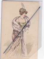 "Femme élégante Des Années 1900 / Signé Gueroz -Série 1873,Schöne Frauen Unserrer Zeit"" Gesch - Femmes"
