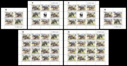 NIGER 2019 - WWF Hyena Overprints, Complete Set. Official Issue - W.W.F.