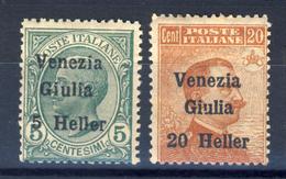 "1919 - VARIETA' - Venezia Giulia - Soprastampati Serie Completa Con La ""U"" Di Giulia Interrotta Nel 20 Heller - Vénétie Julienne"