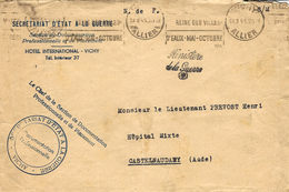 """1941- Enveloppe En Franchise Du """" Ministère / De La Guerre  """"  SECRETARIAT  D'ETAT A LA GUERRE  - VICHY _"""" - Guerra De 1939-45"""