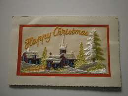 Carte Brodée Happy Christmas (A2p21) - Embroidered