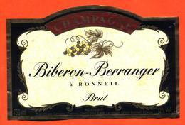 étiquette De Champagne Brut Biberon Berranger à Bonneil - 75 Cl - Champagne