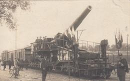 GUERRE 14-18: Canon Allemand De 28 Cm Capturé En 1918, Exposé Sur Un Train - War 1914-18