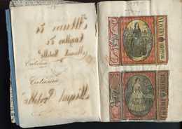 ESPAGNE VERS 1870 DECORATIONS SATIRIQUES DE BOITES D'ALLUMETTES. RARE CARNET REGROUPANT 36 EMBALLAGES - Zündholzschachteletiketten