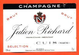 étiquette De Champagne Brut Julien Richard à Cuis - 75 Cl - Champagne