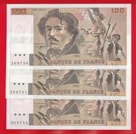"""3 BILLETS DE 100 FRANCS """" DELACROIX """" DE 1993  Q.217  NEUF (Suite) - 1962-1997 ''Francs''"""