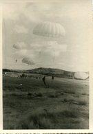 Grande Photo De Parachutiste Militaire Francais Atterrissant Dans La Campagne 1950 - Guerre, Militaire
