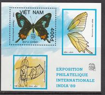 1989 Vietnam Butterflies India Papillons Souvenir Sheet MNH - Vietnam