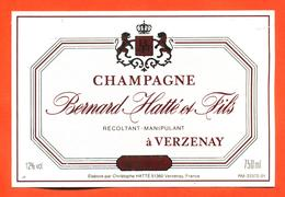 étiquette De Champagne Brut Bernard Hatté Et Fils à Verzenay - 75 Cl - Champagne