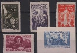 SAN 8 - ROUMANIE N° 930/33 + BF 34 Neufs** Assistance Sociale - 1918-1948 Ferdinand I., Charles II & Michel