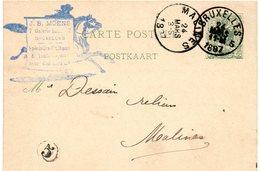 CP 17 Expédiée Par J.B. MOENS (négociant En T.P.) De Bruxelles Vers Malines (1887) - Stamped Stationery