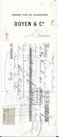 DOYEN  GRANDS VINS DE CHAMPAGNE REIMS 1906 METZ  Fiscal France + Allemagne - Lettres De Change