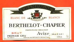 étiquette De Champagne Brut Berthelot Chapier à Avize - 75 Cl - Champagne