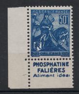 TIMBRE JEANNE D'ARC N° 257 NEUF * TB Avec BANDE PUBLICITAIRE PUB PHOSPHATINE FALIÈRES ALIMENT IDÉAL (TIMBRE DE CARNET) - Advertising