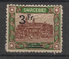 Saar - 1921 - N°Yv. 81 - 3f Sur 10m Vert Et Brun - Neuf Luxe ** / MNH / Postfrisch - Unused Stamps