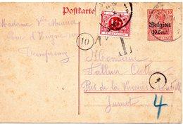 Occ. Allemande - CP12 Hors Cours Expédiée De Dampremy Et Taxée Par TX5A Griffe JUMET (1919) - German Occupation
