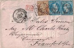 BAS-RHIN - STRASBOUG - PETITE ENVELOPPE ILLUSTREE - AFFRANCHISSEMENT 50c EMPIRE N°13+14x2 - POUR L'ALLEMAGNE 27-10-1863. - 1853-1860 Napoleon III