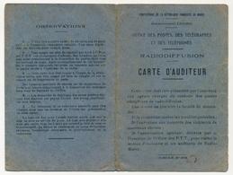 MAROC - Office Des Postes, Des Télégraphes Et Téléphones - RADIODIFFUSION - Carte D'Auditeur KHOURIGBA Maroc 1936 - Maroc (1891-1956)