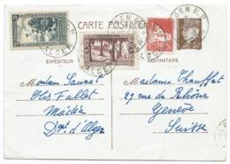 80c PETAIN  SUR CARTE POSTALE / ALGER RP ALGERIE POUR GENEVE SUISSE - Lettres & Documents