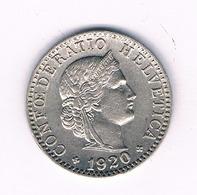 20 RAPPEN 1920 ZWITSERLAND /1661/ - Zwitserland