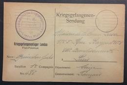 CP Prisonnier De Guerre Camp De LANDAU Vers Maison De La Bonne Presse Paris Accusé-Réception De Colis Déc 1916 - Guerre De 1914-18