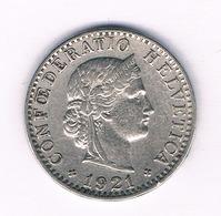 20 RAPPEN 1921 ZWITSERLAND /1662/ - Zwitserland