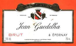 étiquette De Champagne Brut Jean Guedelha à épernay - 75 Cl - Champagne