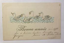 Neujahr, Jahreszahl, Schwan, See, 1902, Prägekarte  ♥  - Nouvel An