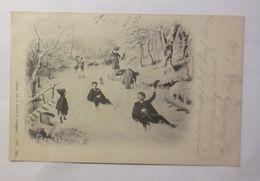 Neujahr, Wintersport, Rodeln, Schlitten,   1897 ♥  - Nouvel An